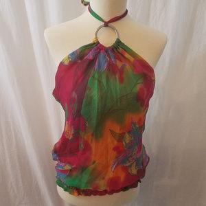 Acciaio Designer Silk Halter Top